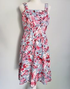 Adrianna Papell blue pink white floral sun dress